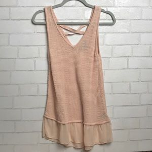 August Silk Top Tank cotton knit pink cross back S